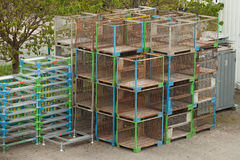 Steel cages work on scaffolding Royalty Free Stock Images