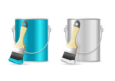Steel Can Bucket and Paint Brush. Vector Royalty Free Stock Photos