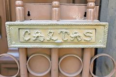 A postal box labeled `cartas` in Mexico City, Mexico. The steel `cartas` box, or mailbox, is seemingly becoming an antiquated mode of communication. This steel stock images