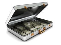 Steel case with money. 3d illustration of steel case with money over white background Stock Photo