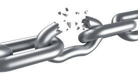 Steel chain breaking Royalty Free Stock Image