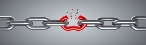 Steel chain breaking. With unique red link Stock Photo