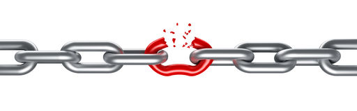 Steel chain breaking. With unique red link Stock Photography