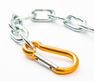 Steel chain and clamp gold metallic security Royalty Free Stock Photos