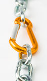 Steel chain and clamp gold metallic security Stock Image