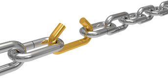 Steel chain with the gold broken off link Royalty Free Stock Photos