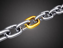 Steel chain with a gold link. 3d illustration Royalty Free Stock Photography