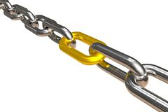 Steel chain with golden link Stock Photos