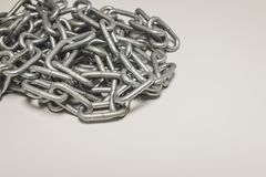 Steel chain heap - abstract metal background. Royalty Free Stock Photos