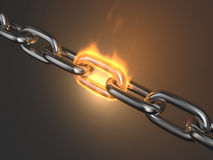 Steel chain link reliabilityin fire 3D. Teamwork Stock Image