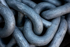 Steel chain. Links in a shipyard Royalty Free Stock Image