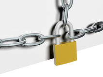 Steel chain lock Royalty Free Stock Photos