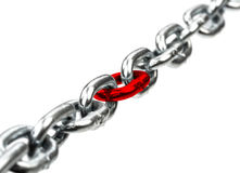 Steel chain with red chain center Stock Image