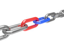 Steel chain with a red and dark blue link Stock Photography