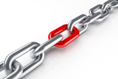 Steel chain with red link. 3d render vector illustration