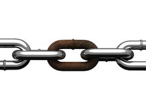Steel chain with rusty section. There is a clipping path Stock Images