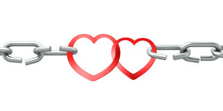 Steel chain with two joined red hearts Stock Photos