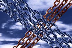 Steel chains in the sky Royalty Free Stock Photos