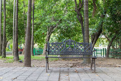 Steel chairs in the garden Stock Photo