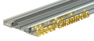 Steel channels, 3D rendering Stock Image
