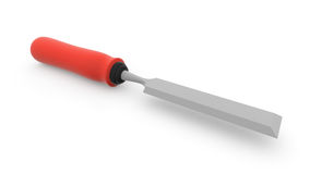 Steel chisel for cutting wood with a red pen Stock Image