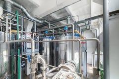 Steel chrome cisterns. Yeast mixture preparation system. Stock Photos