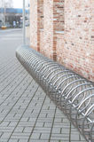 Steel chrome spiral bicycle parking place Royalty Free Stock Image