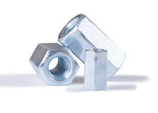Steel chromeplated nuts Stock Photos