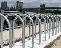 Steel circle to park bicycles, Brooklyn Bridge, NYC Stock Photo