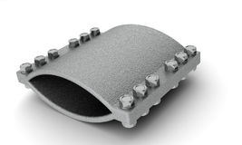 Steel clamp with bolts Stock Image