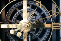 Steel clock detail, orthogonal view Royalty Free Stock Image