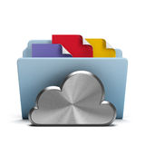 Steel cloud and folder. With documents. 3d image. White background Stock Photo