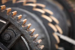 Steel cog wheels metal gears mechanical ratchets Stock Image