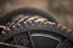 Steel cog wheels metal gears mechanical ratchets Royalty Free Stock Photos