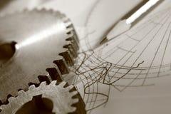 Steel cogwheels on drawing Royalty Free Stock Photos