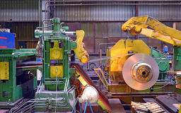 Steel coil processing machine Stock Images