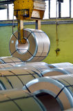 Steel coil in warehouse Royalty Free Stock Photography