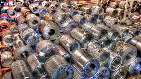 Steel Coil Warehouse Stock Photo