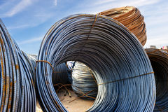 Steel coils on construction sites Royalty Free Stock Photo