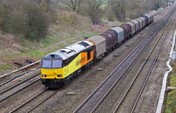 Steel coils freight train Stock Photo
