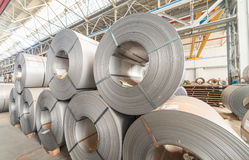 Steel coils inside a factory.  royalty free stock photography