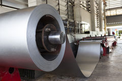 Steel Coils stock in warehouse. For tile manufacturing royalty free stock photos