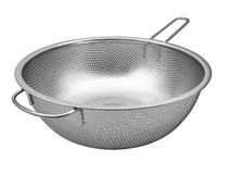 Steel colander with handle isolated on white. Background royalty free stock photos