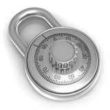 Steel combination lock over white background Stock Photos