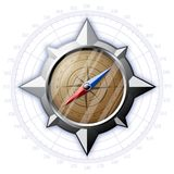 Steel compass with scale Royalty Free Stock Images