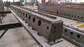 Steel composite beams at workshop. Are manufactured in a metal factory Royalty Free Stock Photography