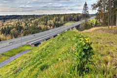 Steel concrete highway bridge crossing russian forest Royalty Free Stock Images