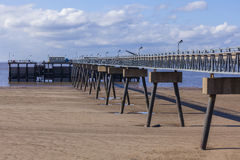Steel and concrete pier manmade structure Stock Images