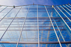 Steel construction. New residential construction home metal framing against a blue sky Royalty Free Stock Photo