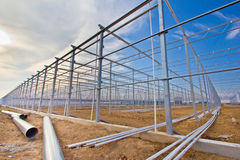 Steel construction. New residential construction home metal framing against a blue sky Royalty Free Stock Photos